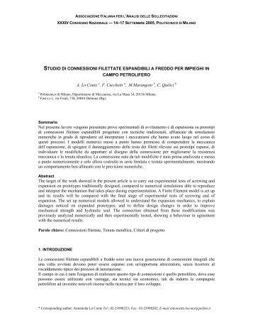 studio di connessioni filettate espandibili a freddo per ... - AIAS