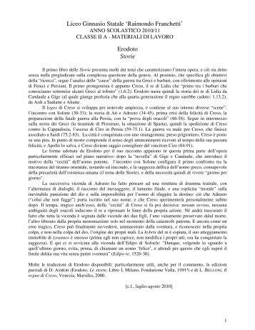 Liceo Ginnasio Statale 'Raimondo Franchetti' Erodoto Storie