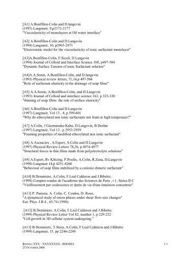 [A1] A.Bonfillon-Colin and D.langevin (1993) Langmuir, 9 ... - LOF