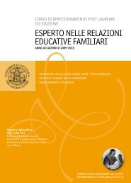 esperto nelle relazioni eduCatiVe familiari - Università Cattolica del ...