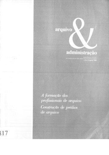 REVISTA ARQUIVO & ADMINISTRAÇÃO. Rio de Janeiro