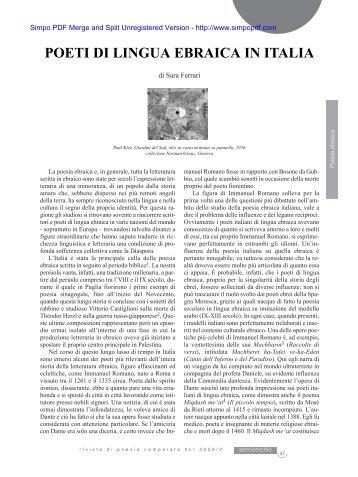 POETI DI LINGUA EBRAICA IN ITALIA - Università degli Studi di Siena