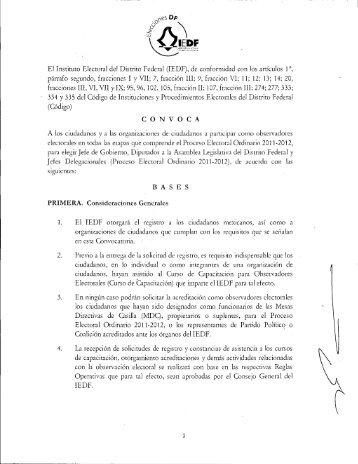 Convocatoria - Instituto Electoral del Distrito Federal