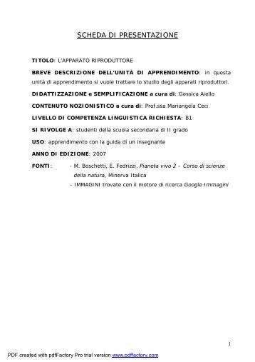 L'apparato riproduttore - Italiano per lo studio