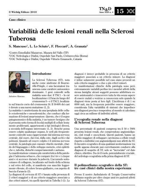 Variabilità delle lesioni renali nella Sclerosi Tuberosa