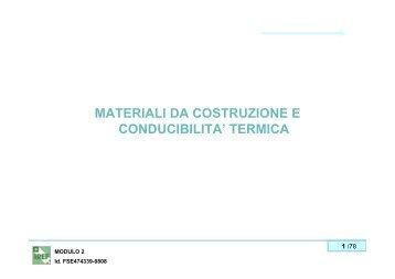 MATERIALI DA COSTRUZIONE E CONDUCIBILITA' TERMICA