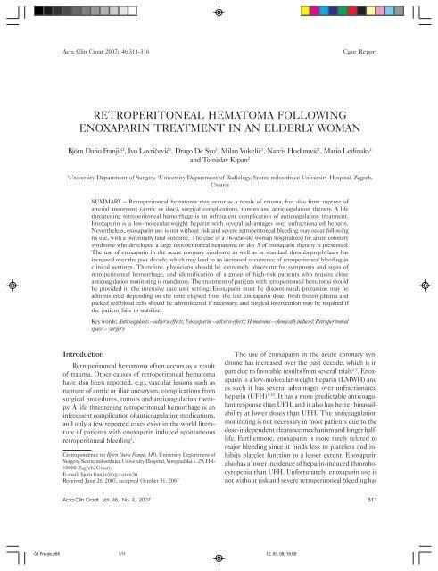 peritoneal hematoma evacuation