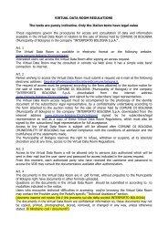 regolamento data room interporto in inglese - Comune di Bologna