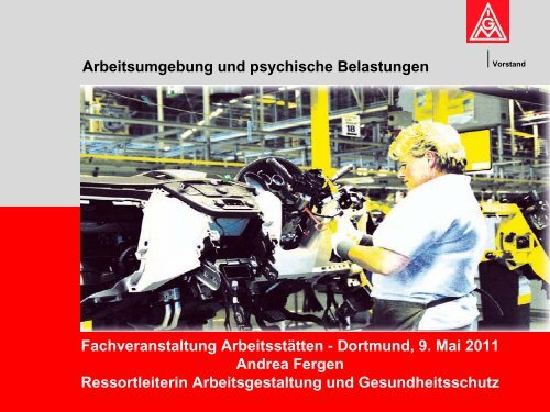 """Vortrag """"Arbeitsumgebung und psychische Belastungen"""""""