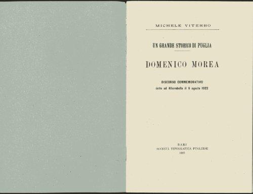 Michele Viterbo, Domenico Morea, Bari, Humanitas, 1922
