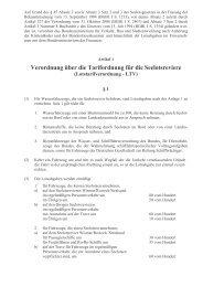 Verordnung über die Tarifordnung für die Seelotsreviere