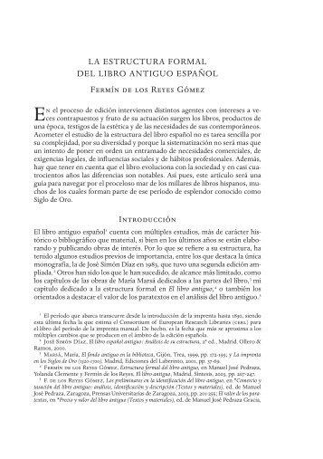 LA ESTRuCTuRA FORMAL DEL LIBRO ANTIGuO ESPAñOL Fermín ...