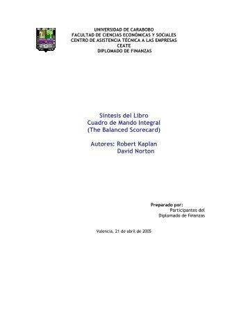 Síntesis del Libro Cuadro de Mando Integral (The Balanced ...