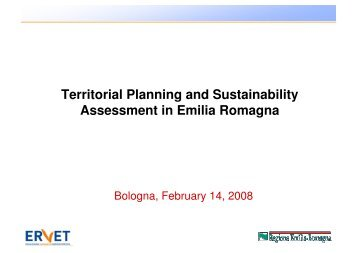 Territorial Planning and Sustainability Assessment in Emilia ... - Dps