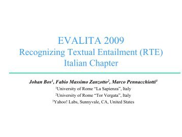 Textual Entailment Patterns - EVALITA