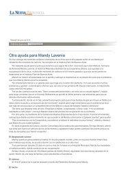 Otra ayuda para Mandy Lavenia - La Nueva Provincia