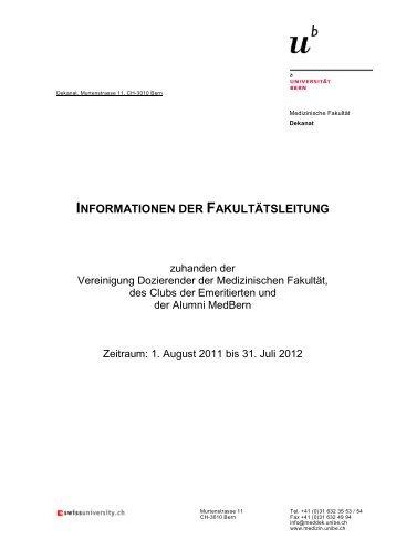 Jahresinformation 2011-2012 (pdf, 203KB) - Medizinische Fakultät ...