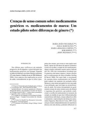Crenças de senso comum sobre medicamentos genéricos ... - SciELO