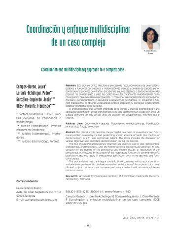 Coordinación y enfoque multidisciplinar de un ... - SciELO España