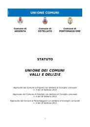 statuto unione dei comuni valli e delizie - Bollettino Ufficiale della ...