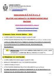 Indicazioni generali presentazione pratiche - Comune di Brescia