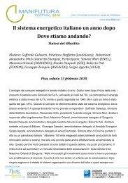 Il sistema energetico italiano un anno dopo Dove stiamo ... - Nens