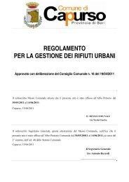 regolamento per la gestione dei rifiuti urbani - Comune di Capurso
