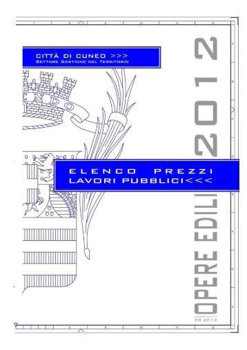 Elenco prezzi anno 2012 - Comune di Cuneo