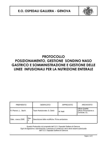 protocollo posizionamento, gestione sondino ... - Ospedale Galliera