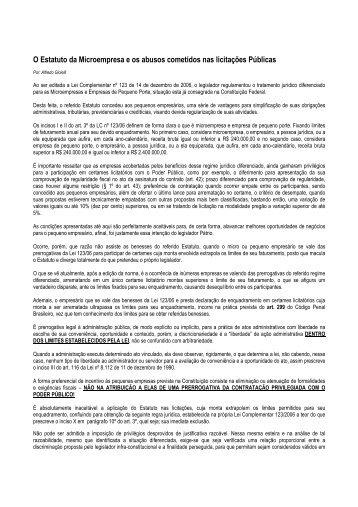 O Estatuto da Microempresa e os abusos cometidos ... - ACOPESP