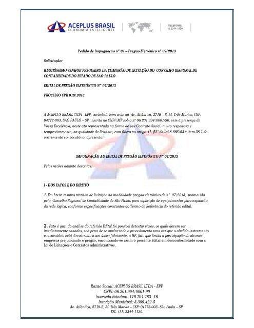 Impugnação Ao Edital Portal Do Crc Sp