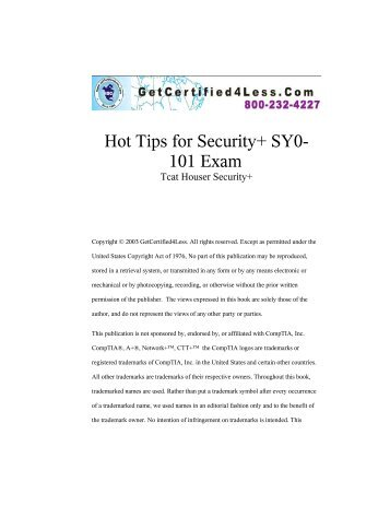 Hot Tips for Security+ SY0- 101 Exam - GetCertify4Less.com