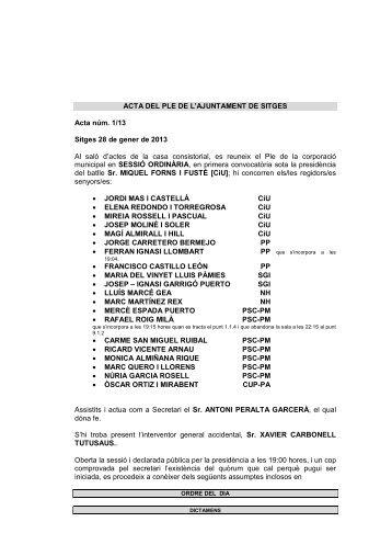 acta 1 ple 28 gener - Ajuntament de Sitges