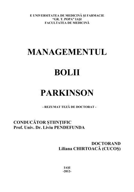 MANAGEMENTUL BOLII PARKINSON - Gr.T. Popa