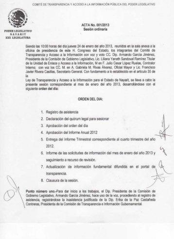 Actas y Acuerdos del Comité de Información. Enero - H. Congreso ...