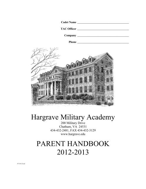 Hargrave Military Academy PARENT HANDBOOK 2012-2013