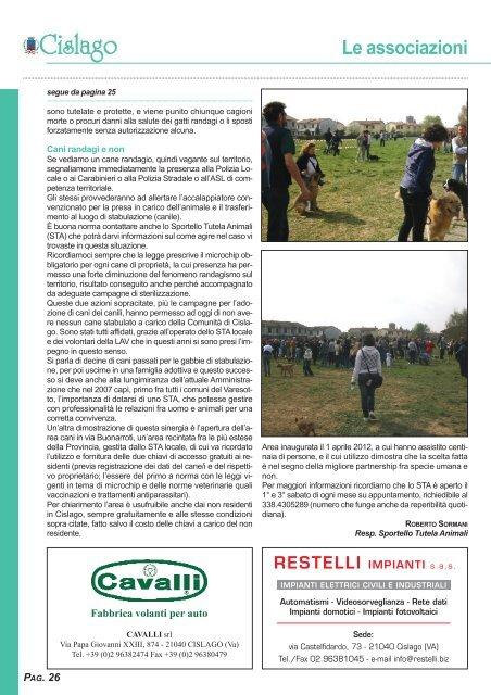 Le associazioni - Comune di Cislago