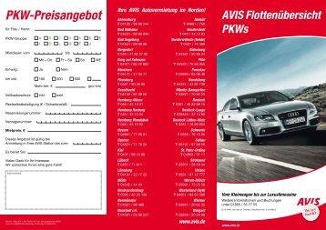 PKW-Preisangebot - AVIS Autovermietung Wucherpfennig