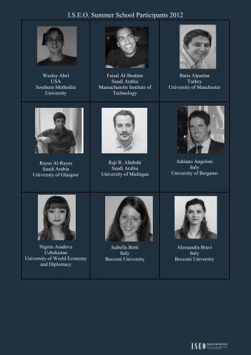 List of participants Summer School 2012 - I.S.E.O