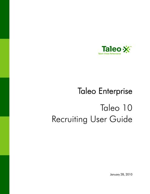 Taleo 10 Recruiting User Guide - Oracle