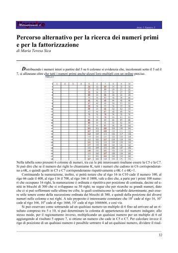 Percorso alternativo per la ricerca dei numeri primi e per la ...