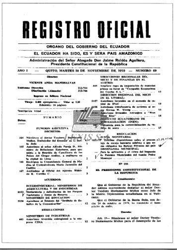 Registro Oficial de la RE Cotacachi Cayapas - Ministerio del Ambiente