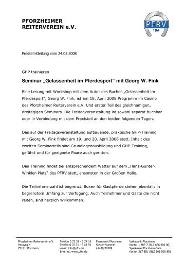 """""""Gelassenheit im Pferdesport"""" mit Georg W. Fink - Pforzheimer ..."""