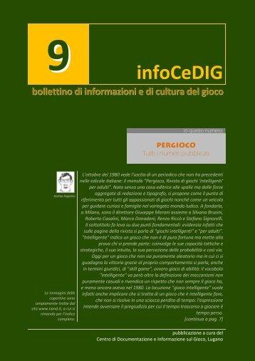 infoCeDIG #9 - Centro di Documentazione e Informazione sul Gioco