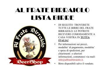 Le Birre - Al Frate Birraiolo