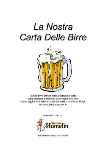 Carta Delle Birre - Ristorante I Gerani Sassari - Cucina di pesce