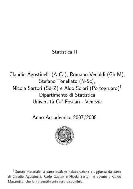 Lucidi utilizzati a lezione - Dipartimento di Statistica