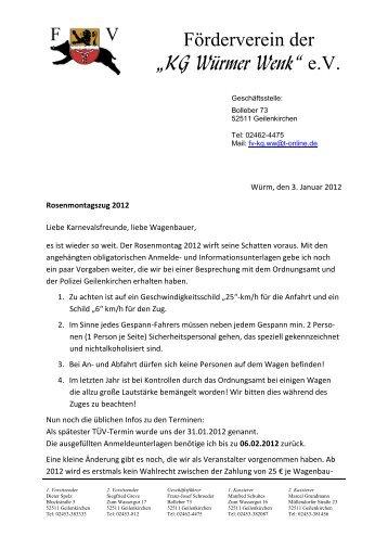 """Förderverein der """"KG Würmer Wenk"""" e.V."""
