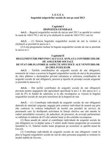 Proectul legii bugetului asigurarilor sociale de stat pe anul 2013