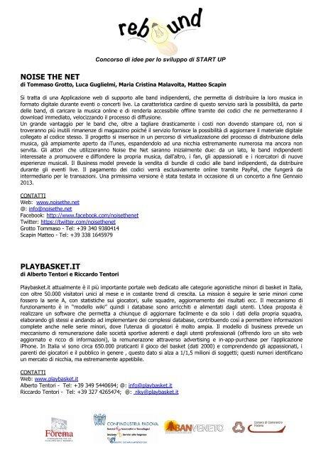 SCHEDA PROGETTI Rebound - Confindustria Padova